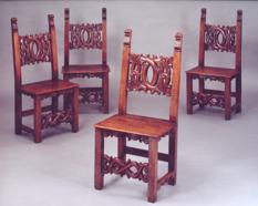 Set of Four Italian Walnut Side Chairs