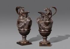 Pair Bronze Ewers