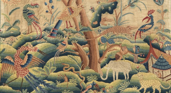 Detail of exotic animals on crewelwork panel