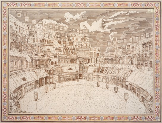 Adam Dant, Bread and Circuses. Ink and photographs on paper, 2010