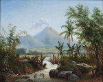 Maurits van den Kerkhoff (1830-1908), Landscape near Malang, Java, with the Brantas river and Semeru volcano in the background. Oil on canvas