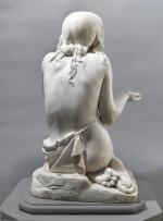 Giovanni Strazza (Milan 1818-1875), La Mendicante (The Beggar), marble, h 75 cm.